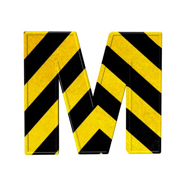lettere in strisce di pericolo nere