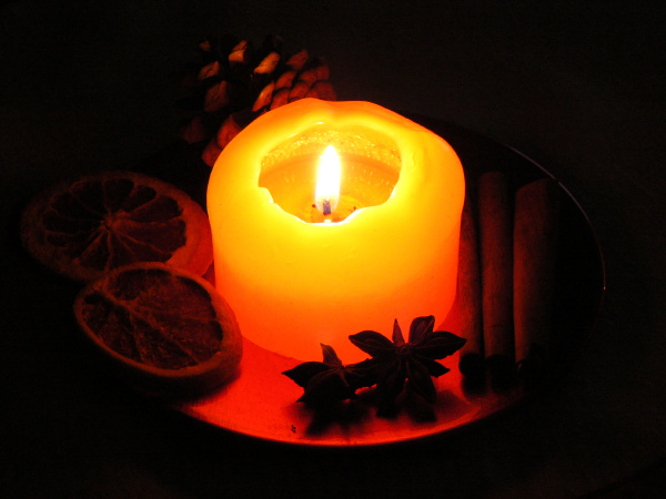 decorazione, di, natale, con, la, candela - 12949188