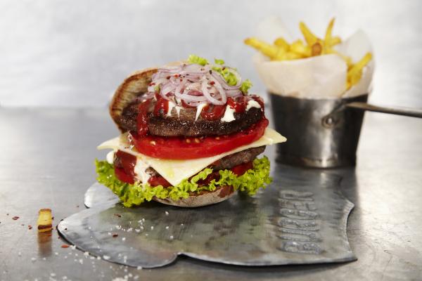 pane acciaio metallo succoso hamburger polpetta