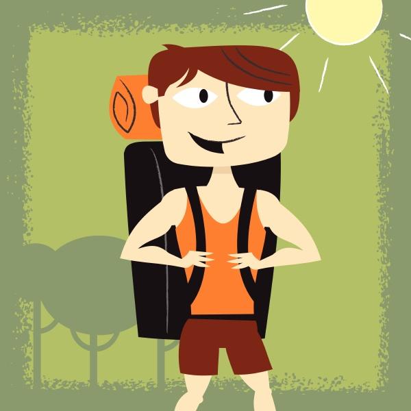 uomo sorridente backpacking in estate
