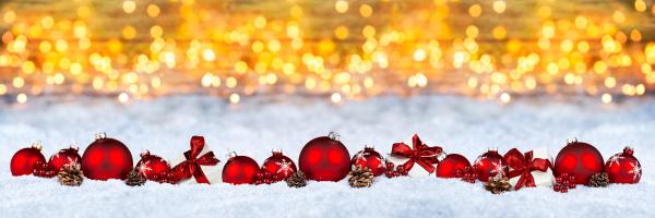 decorazione di natale rosso neve sfondo