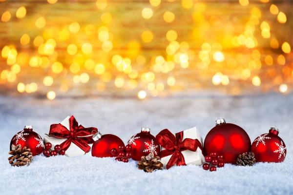 rosso natale decorazione neve bokeh sfondo