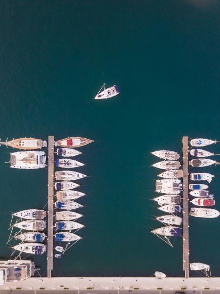 vista, aerea, delle, barche, ancorate, nella - 27540048