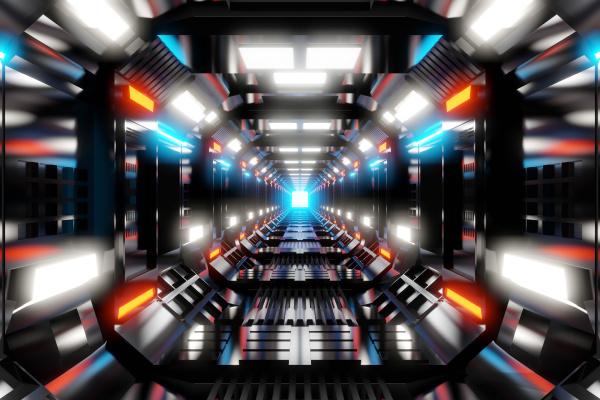 rendering tridimensionale di corridoio futuristico illuminato