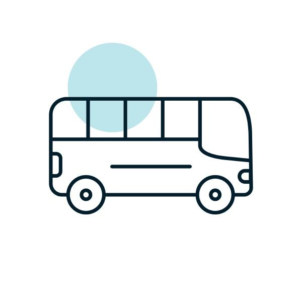 icona del vettore piatto del bus