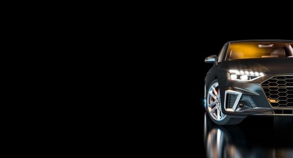 auto di lusso nera con fari