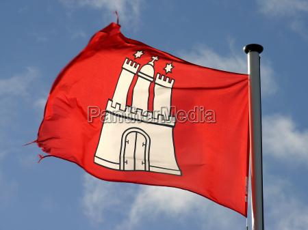 bandiera di amburgo nel vento