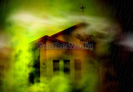 chiesa notte luci nebbia fantasia paura