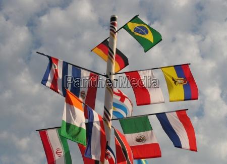 colorato albero bandiere internazionale