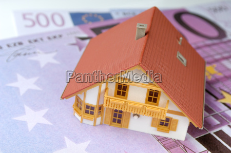 model house on euro notes