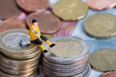 primo piano close up euro monete
