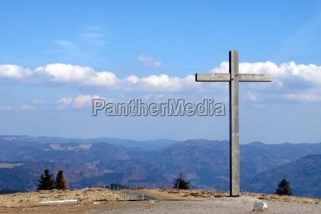 collina sopra escursione gita croce lontano