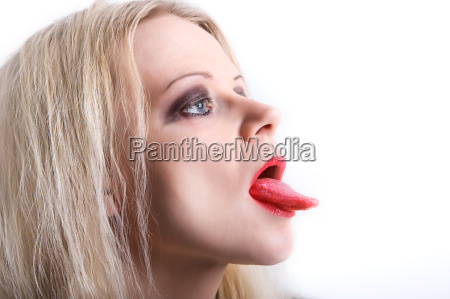 donna bocca lingua fotomontaggio fragola