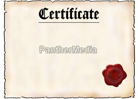 certificato bianco con sigillo di cera