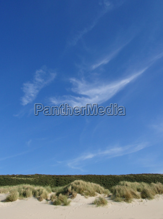 cieli azzurri sul paesaggio dunare