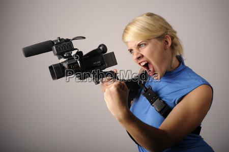 woman expression absorb video recording film