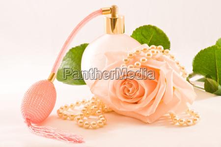fiore rosa perle collana bianco