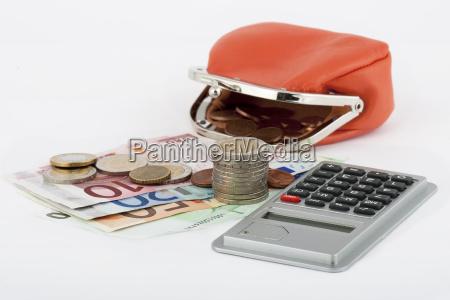 euro monete calcolatrice tascabile calcolare borsellino