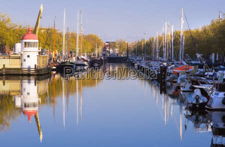 harbour on autumn morning with blue
