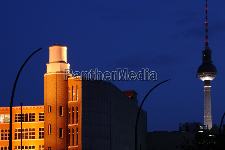 night sky in berlin with tv