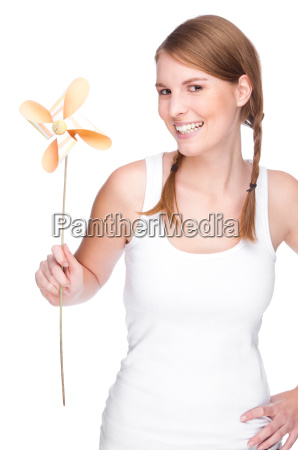 woman with a pinwheel