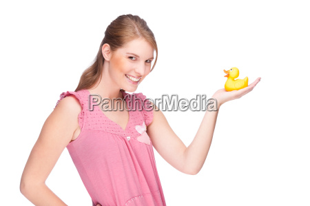 young woman with a rubber duck