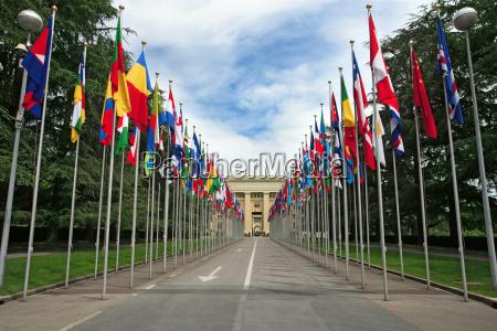 ingresso svizzera bandiere unito nazioni ginevra