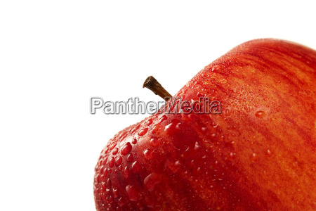 wet red apple macro