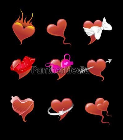 sexy heart icon set