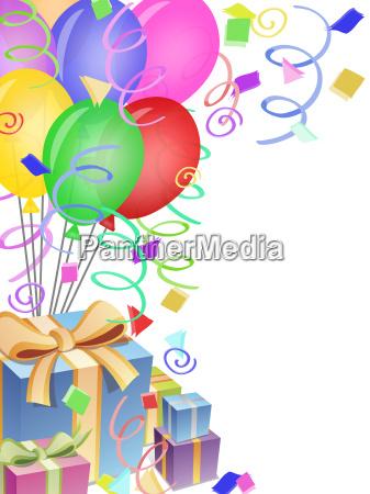 festa palloncini regali coriandoli occasione doni