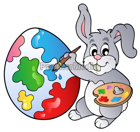 coniglietto artista pittura uovo di pasqua