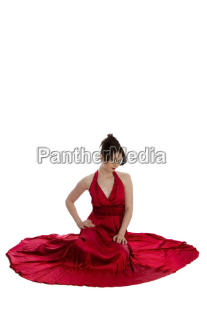 young woman in red evening dress