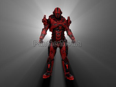 soldato futuristico meccanico androide armatura automa