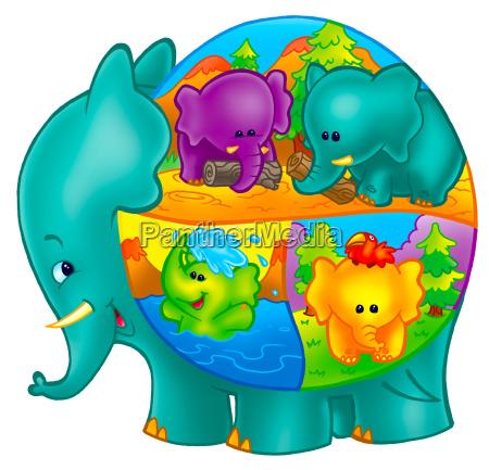 arte animale elefante carattere illustrazioni impertinente