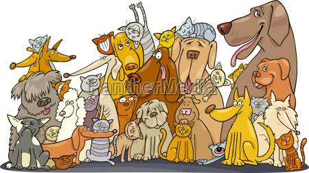 grande gruppo di gatti e cani