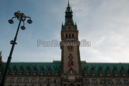 blu torre orologio amburgo municipio lanterna