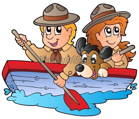 barca di legno con scout boy