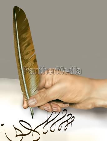 scrivere antico tipografia redigere piuma oggetto