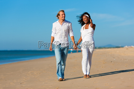 happy couple at walk on the