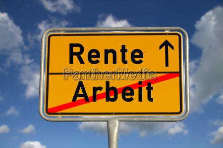 pensione tedesca del lavoro di segno