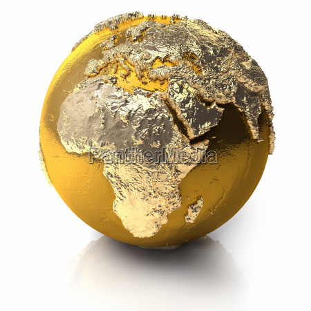 africa dorato giallo dorato globo terra