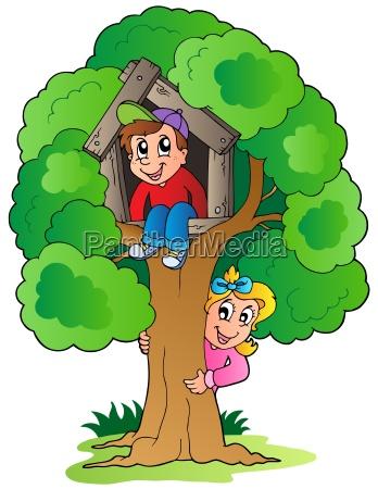 albero con due bambini cartone animato