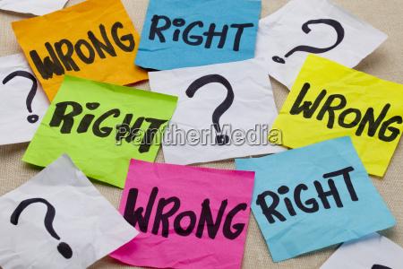 sbagliato o giusta questione etica