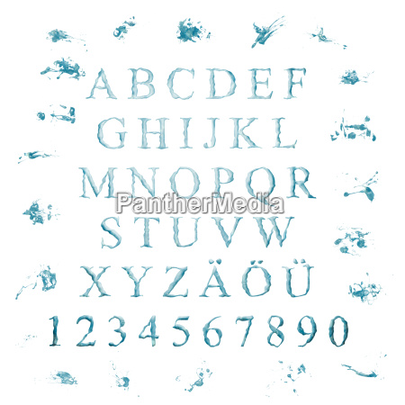 blu lettere contare alfabeto abc acqua