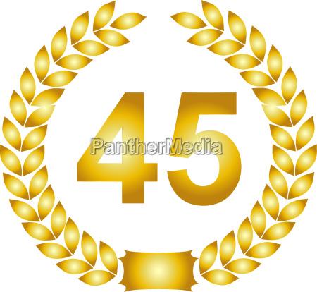 golden laurel wreath 45 years