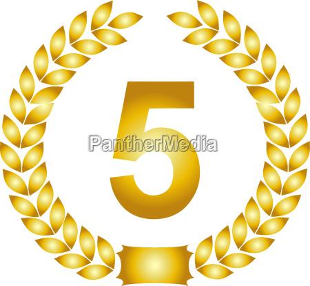 golden laurel wreath 5 years
