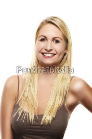 portrait of a beautiful happy blond