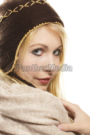 cute blond woman in winter clothing