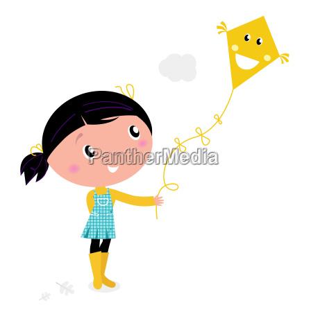 piccola ragazza carina flying kite isolato
