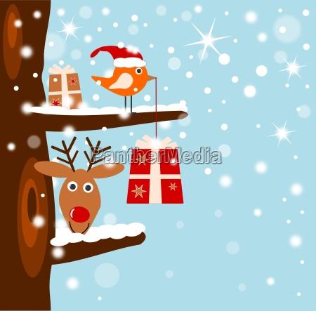 cartoon vogel and reindeer with
